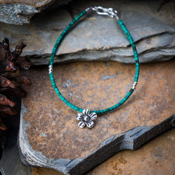 Hill Tribe Hand Made Malachite and Silver Bead Bracelets with Flower Charm