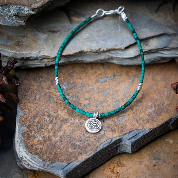 Hill Tribe Hand Made Malachite and Silver Bead Bracelets with Om Charm