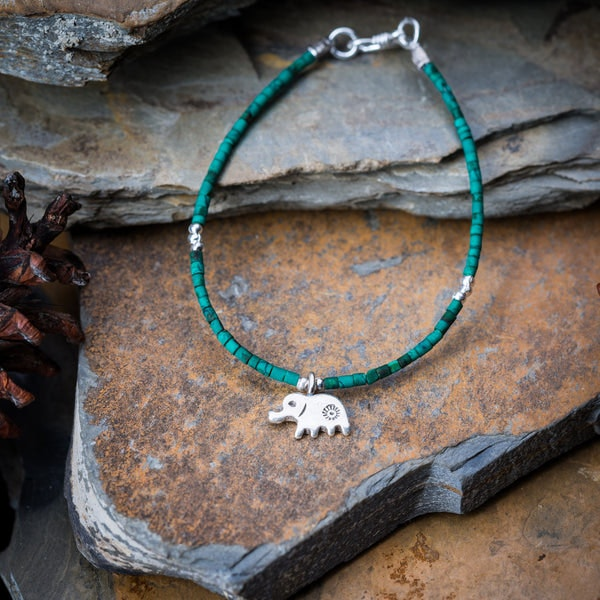 Hill Tribe Hand Made Malachite and Silver Bead Bracelets with Elephant Charm