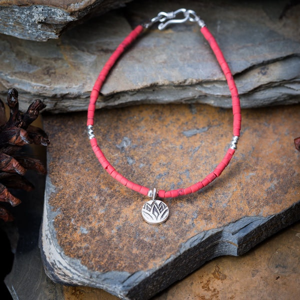 Hill Tribe Hand Made Coral and Silver Bead Bracelets with Lotus Charm