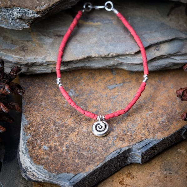 Hill Tribe Hand Made Coral and Silver Bead Bracelets with Swirl Charm