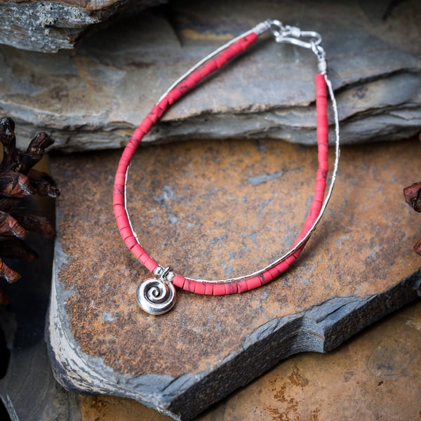 Hill Tribe Hand Made Coral and Silver Bracelets with Swirl Charm
