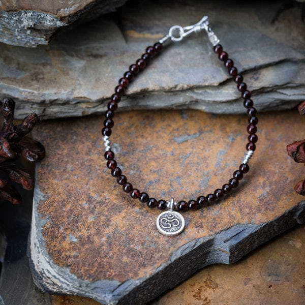 Hill Tribe Hand Made Garnet and Silver Bead Bracelets with Om Charm