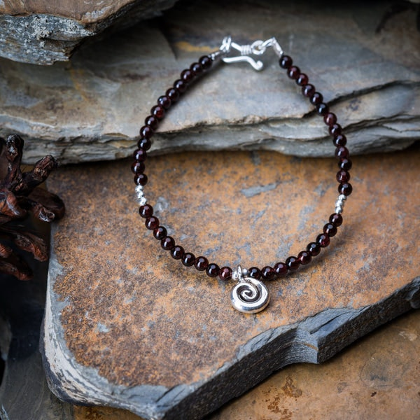 Hill Tribe Hand Made Garnet and Silver Bead Bracelets with Swirl Charm