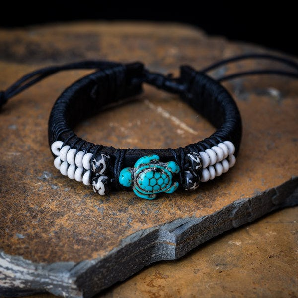 Fair Trade Hand Made  Leather Bracelet Turquoise Turtle Bead
