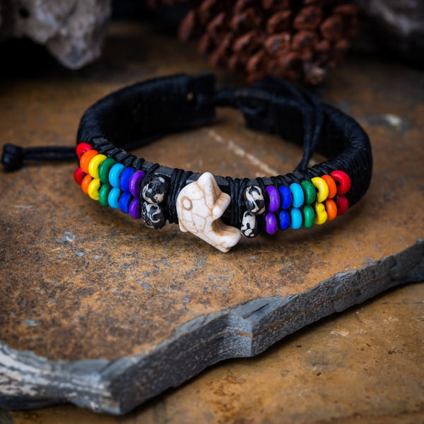 Hand Made Woven Waxed String Leather Adjustable Bracelets With Dolphin Charm and Rainbow Beads