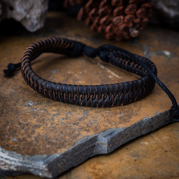 Fair Trade Hand Made Woven Leather Bracelet Fishtail Weave Black