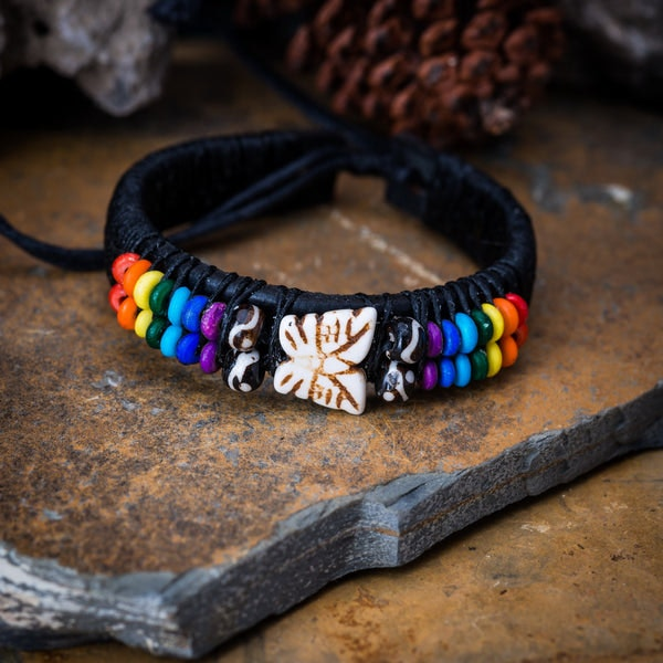 Woven Waxed String Leather Adjustable Bracelets With Butterfly Charm and Rainbow Beads