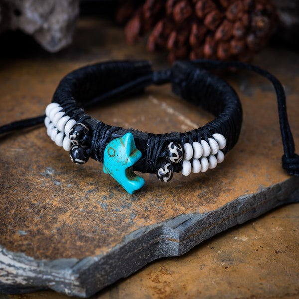 Hand Made Woven Waxed String Leather Adjustable Bracelets With Turquoise Dolphin Charm and Beads
