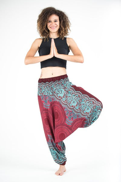 Geometric Mandalas Jumpsuit Harem Pants in Red