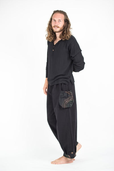 Thai Cotton Men Drawstring Pants With Hill Tribe Trim Black