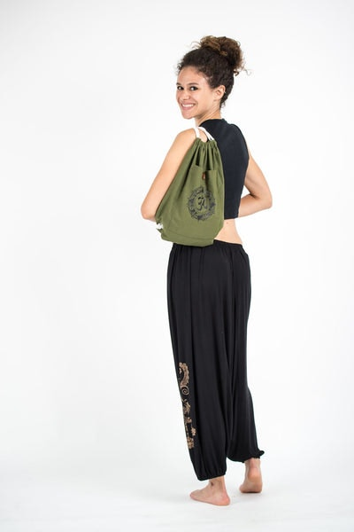 Ohm Drawstring Cotton Canvas Backpack in Olive Green