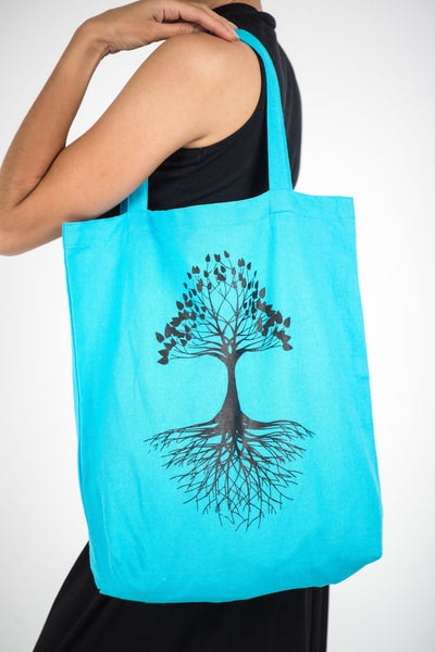 Recycled Cotton Canvas Shopping Tote Bag Tree of Life Blue