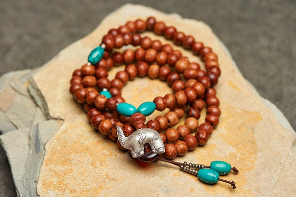 Wooden Mala Beads Convertible Necklace with Turquoise stones Silver beads and Elephant silver charm