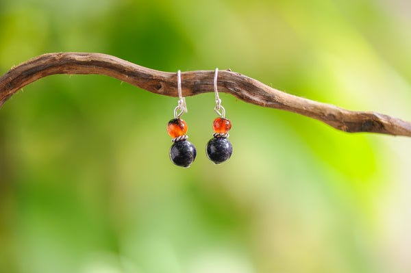Hand Made Tribal Carnelian & Silver Sand Stones With Silver Beads Earrings