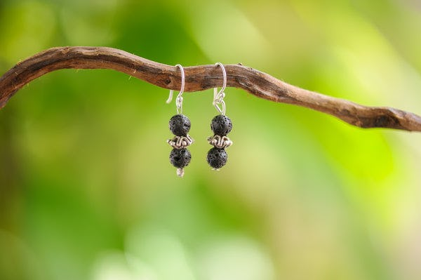Hand Made Tribal Black Lava Beads Silver Earrings