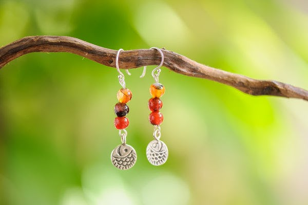 Hand Made Tribal Carnelian Beads with Silver Fish Earrings.