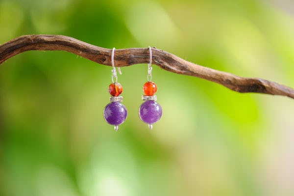 Hand Made Tribal Carnelian Beads and Amethyst Earrings