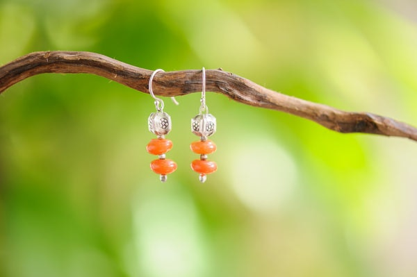 Hand Made Tribal Carnelian Beads with Silver Charm Earrings.