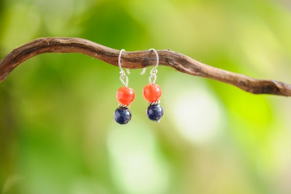 Hand Made Tribal Carnelian and Lapis Bead Earrings