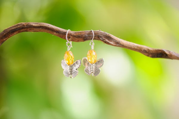 Hand Made Tribal Butterflies Silver With Topaz Earrings