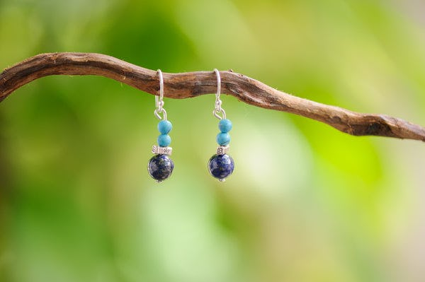 Hand Made Tribal Turquoise Lapis Lazuli Beads Earring