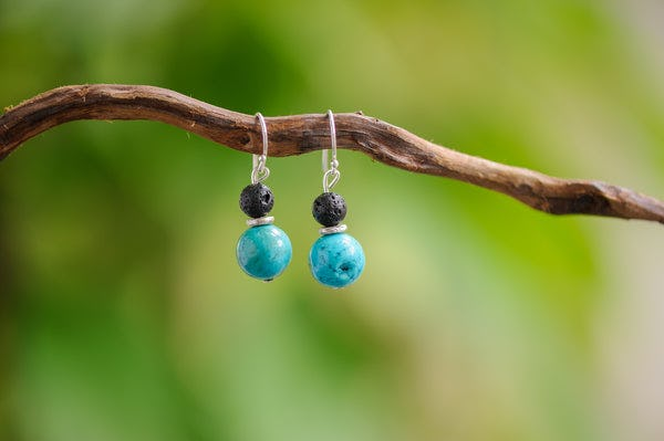 Hand Made Tribal Turquoise and Black Lava Beads Silver Earrings