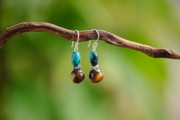 Hand Made Tribal Turquoise and Tiger Eye Stones Earring