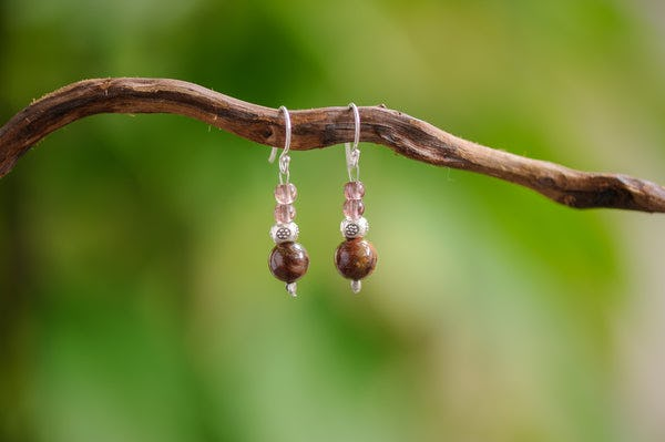 Hand Made Tribal Garnet & Jasper With Silver Beads Earrings