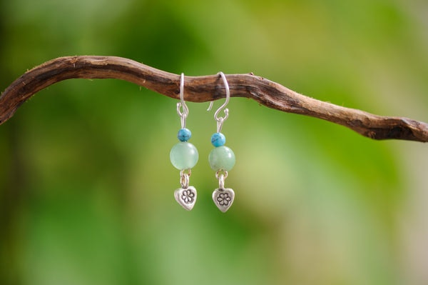 Hand Made Tribal  Turquoise & Jade with Heart Silver Charm Earrings