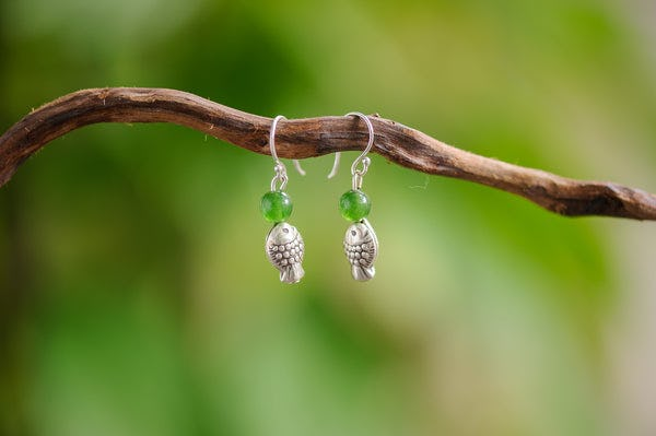 Hand Made Tribal Fish Silver With Jade Earrings