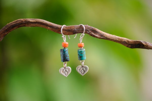 Hand Made Tribal Heart Charms With Turquoise and Coral Earrings