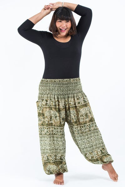 Plus Size Marble Elephants Women's Harem Pants in Olive