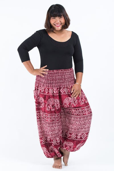 Plus Size Marble Elephants Women's Harem Pants in Red