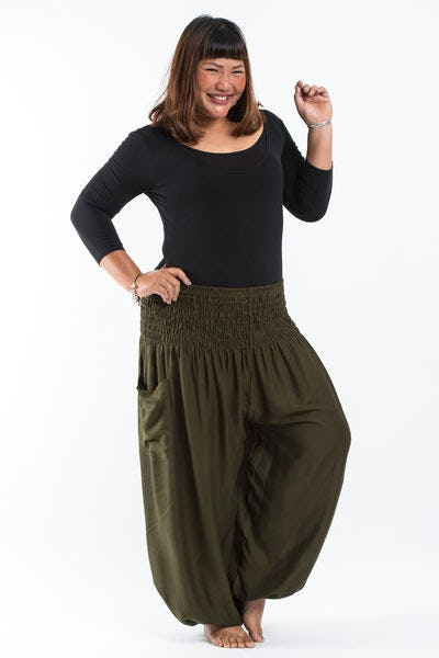 Plus Size Solid Color Women's Harem Pants in Green