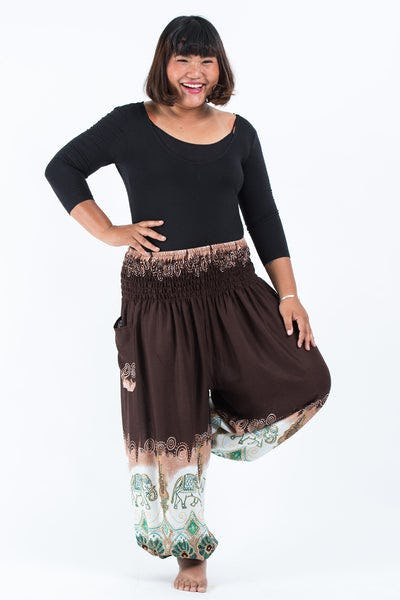 Plus Size Solid Top Elephants Women's Harem Pants in Brown