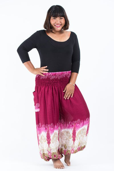 Plus Size Solid Top Elephants Women's Harem Pants in Margenta