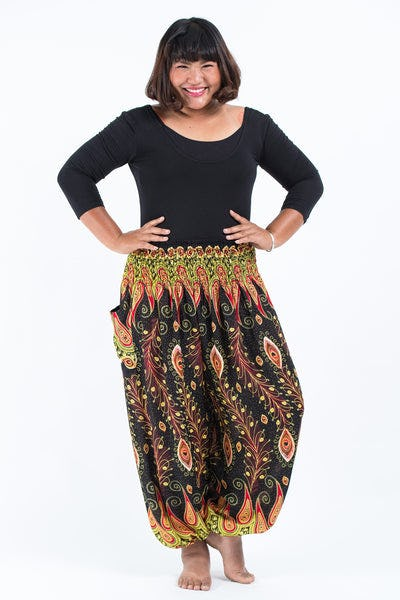 Plus Size Peacock Paisley Women's Harem Pants in Black