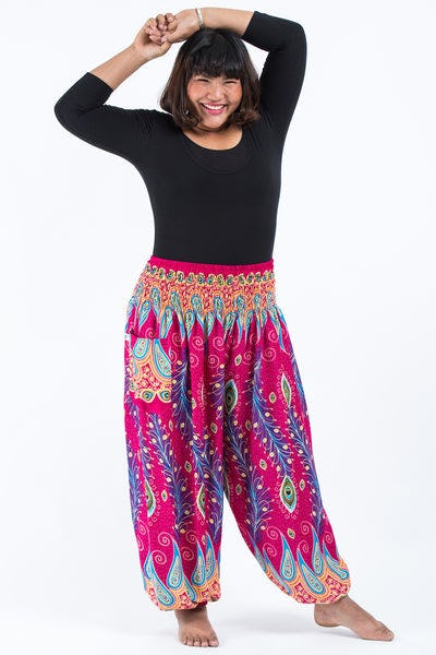Plus Size Peacock Paisley Women's Harem Pants in Pink