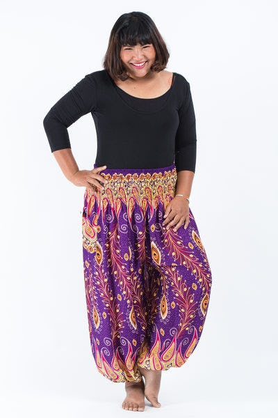 Plus Size Peacock Paisley Women's Harem Pants in Purple
