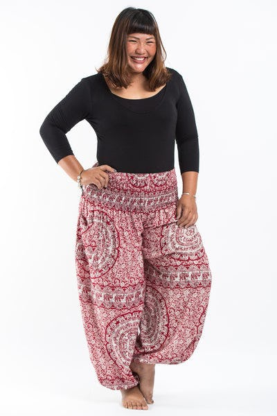 Plus Size Paisley Elephants Women's Harem Pants in Red