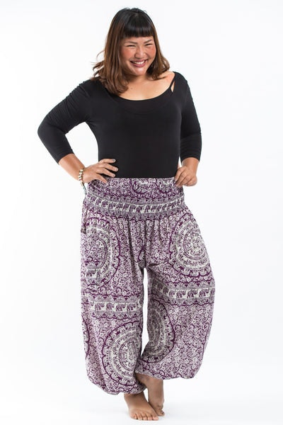 Plus Size Paisley Elephants Women's Harem Pants in Purple