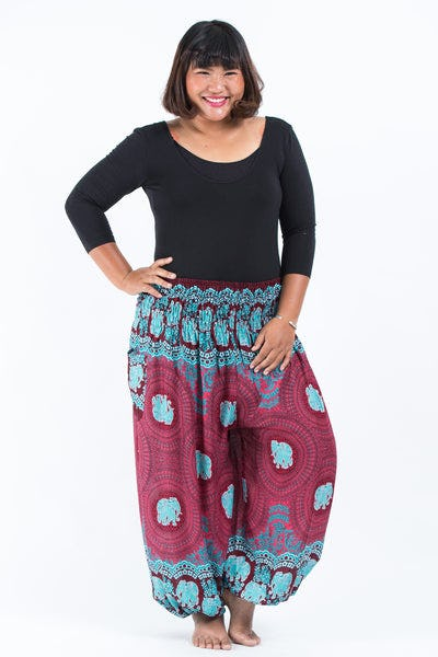 Plus Size Mandala Elephant Women's Elephant Pants in Red