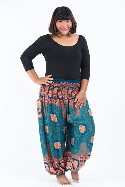Plus Size Mandala Elephant Women's Elephant Pants in Turquoise