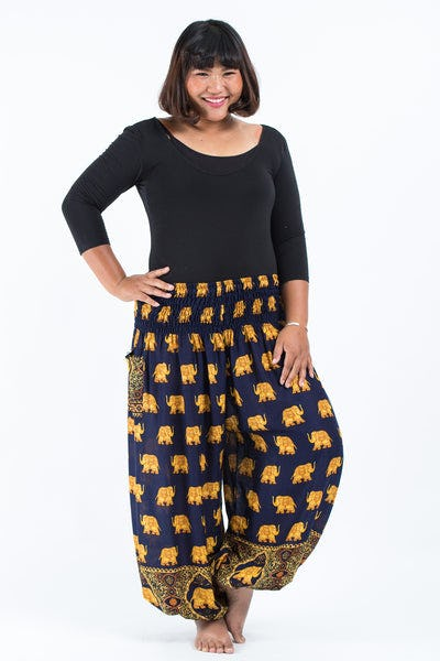 Plus Size Golden Elephant Women's Elephant Pants in Navy