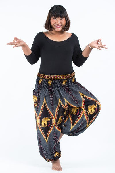 Plus Size Peacock Elephants Women's Harem Pants in Black