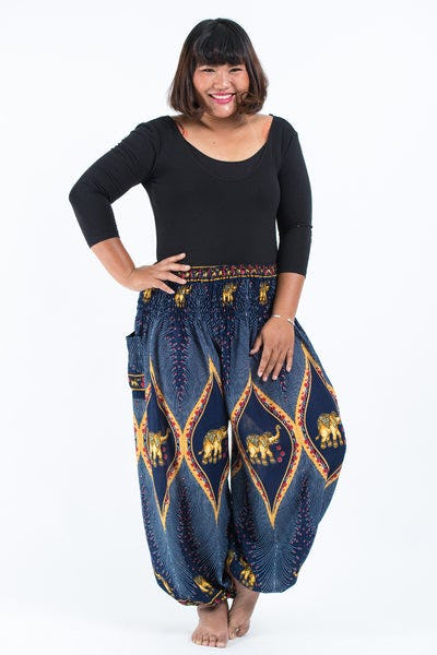 Plus Size Peacock Elephants Women's Harem Pants in Blue