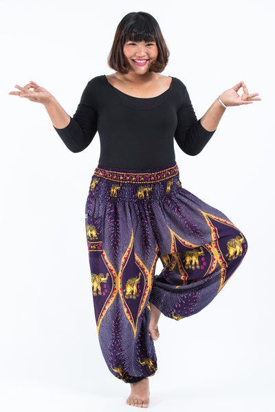 Plus Size Peacock Elephants Women's Harem Pants in Purple