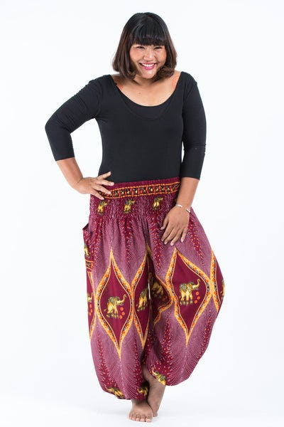 Plus Size Peacock Elephants Women's Harem Pants in Red