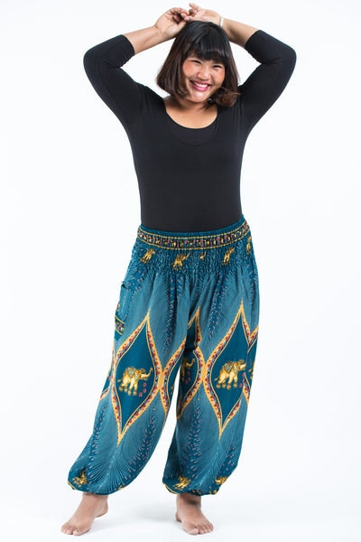 Plus Size Peacock Elephants Women's Harem Pants in Turquoise